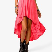 Shirred High Low Skirt