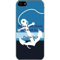 Large White Faith Anchor Psalm 56:3 Verse in Middle iPhone 5 TPU Case Cover