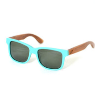 Wood Sunglasses Teal Handmade Wooden Wayfarer Indie Retro Ray-Ban Bamboo Sunglasses