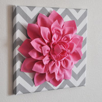 Pink Wall Flower -Bright Pink Dahlia on Gray and White Chevron 12 x12&quot; Canvas Wall Art- Baby Nursery Wall Decor-