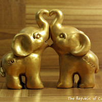 Customized Elephant Wedding Cake Toppers - Silver or Gold - Hand Sculpted to Order - Stamped with your initials and wedding date