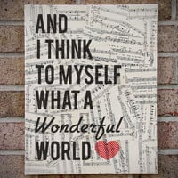 What A Wonderful World - Canvas Art Vintage Sheet Music Lyrics - Louis Armstrong
