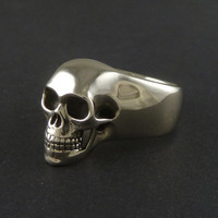 Skull Ring - White Bronze Human Skull Ring - Memento Mori