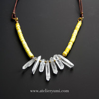 Tribal Bib Statement Necklace, Raw Crystal Quartz Spiked Collar necklace