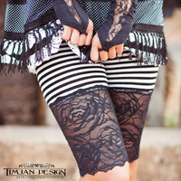 LONG STRIPY KNICKERS - Perfect under skirts and dresses - Shorts Hot pants - Lace Underwear - Pirate - Black white