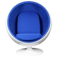 Amazon.com: LexMod Eero Aarnio Style Ball Chair in Blue: Home & Kitchen