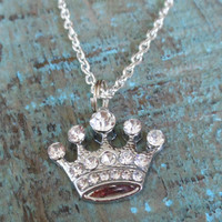 Rhinestone Crown Necklace - Silver Crown - Rhinestone Necklace - Silver Necklace