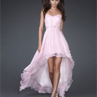 High-low Strapless Sweetheart with Beaded Wasit Chiffon Prom Dress