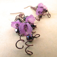 Triple Purple Flower Curl Earrings by SirensAllure on Etsy