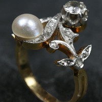 Art Nouveau Diamond & Pearl 'toi et moi' Ring by Ruby Gray's | Ruby Gray's Antique & Vintage Rings