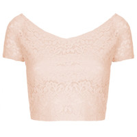 Lace Bardot Crop Top - Tops - Clothing - Topshop