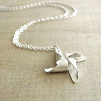Silver Pinwheel Necklace by Beazuness on Etsy