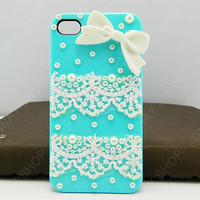 Lace case white bows case gifts to friend  iPhone 5 case e iPhone 4s case iPhone cover