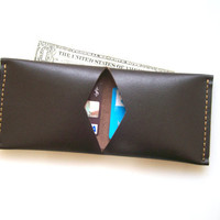 Leather Wallet Men Wallet Uni Fold Wallet Dark Brown by leathermix