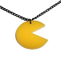Pacman Necklace, Laser Cut Gaming Pendant