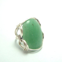 Aventurine Wrapped Ring with Non Tarnish Silver by FaroCreations