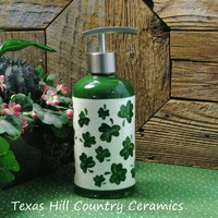 Tall Ceramic Cylinder Green Shamrocks Updated Stainless Pump Dispenser