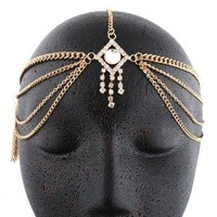 Gold Metal Head Chain with a Centered Iced Out Diamond and Dangling Stones