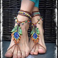 FESTIVAL of colors PEACOCK Barefoot sandals peacock feather beach Wedding HIPPIE foot jewelry Wanderlust