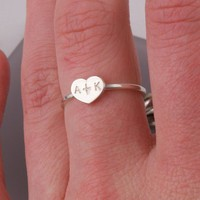 Heart Couple Initial Sterling Silver Ring by InitialRings on Etsy