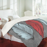 Wesley Bird Feathered Duvet Cover - Luxe Duvet Cover /