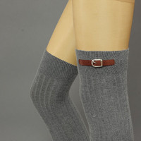 Thigh high  buckle sock  - buckle Socks,Angora sock, knee socks,gray melange  color, boot socks - leg warmers