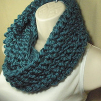 Teal Wool Cowl Infinity Circle Scarf Neckwarmer