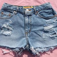 Vintage HIgh Waisted Destroyed  Denim Shorts