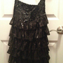 black sparkle strapless cocktail dress