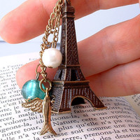 Paris French Eiffel Tower Antiqued Brass by EarthCandycreations