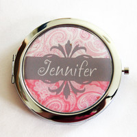 Custom compact mirror, personalized, compact mirror, pink, grey, bridesmaids gift, paisley, wedding party gift, purse mirror  (2210)