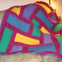 "Knit Rainbow Blocks Afghan  49""X58"""