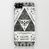 Legend of Zelda Kingdom of Hyrule Crest Letterpress Vector Art iPhone Case by Barrett Biggers