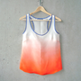 Orange Ombré Blouse - contrast navy trim, hand dye-painted and hand sewn