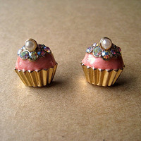 Pink Cupcake Earrings Studs With Bling by Bitsofbling on Etsy