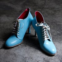 1920&#x27;s vintage inspired baby blue high heels FREE WORLDWIDE SHIPPING