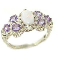 Amazon.com: Solid English Sterling Silver Womens Large Opal & Amethyst Art Nouveau Ring - Finger Sizes 5 to 12 Available: Jewelry
