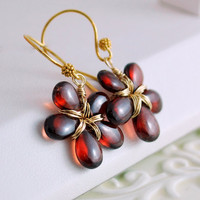 Genuine Garnet Earrings, Wire Wrapped Flower, Smooth Red Gemstones, Gold Jewelry, January Birthstone, Free Shipping