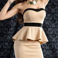 zipper peplum dress $34.00 in CORALPRP NAVYPINK TAUPEBLACK - Nightclub | GoJane.com
