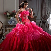 2012 Style Ball Gown Strapless Beading Sleeveless Floor-length Taffeta Prom Dresses / Evening Dresses