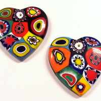 VINTAGE Murano Millefiori HEART Pendants Two (2) Glass Heart Pendants Cabochons Millefiori Venetian Glass Mosaic Unused Store Stock (D31)
