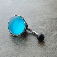 Glowing Turquoise Blue Belly Button Ring Jewelry by CuteBellyRings
