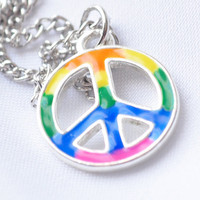 Rainbow peace sign necklace on silver chain by MeredithsLittleShop