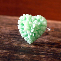 Adjustable Mint Heart Ring by prettypleasempls on Etsy