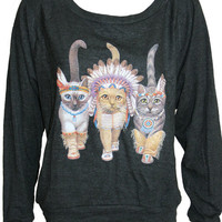 Three Native Kitty Cats Pullover Slouchy &quot;Sweatshirt&quot;  Top American Apparel Black L