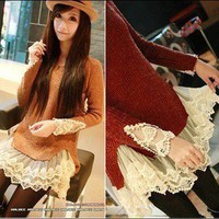 2012 Sweater dress lace stitching lace skirt European style lace hem stitching