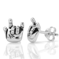 "925 Oxidized Sterling Silver ""I Love You"" Hand Sign Post Stud Earrings 10 mm Jewelry for Women, Teens, Girls - Nickel Free: Jewelry: Amazon.com"
