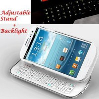 Case MaMa Multifunction Bluetooth Keyboard Case Sliding Function + Standing Function + Backlight Function + 12 Button Specially Designed for Samsung Galaxy i9300 S3 SIII (White)