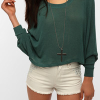 Sparkle &amp; Fade Extreme Dolman Cropped Sweater