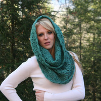 Teal Textured Chunky Cowl Scarf Hood Neck Warmer Sea by crochetgallery